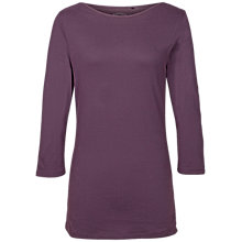 Buy Fat Face Natasha Three Quarter Length Sleeve T-Shirt, Aubergine Online at johnlewis.com