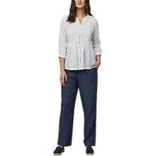 Buy East Linen Pintuck Blouse, White Online at johnlewis.com