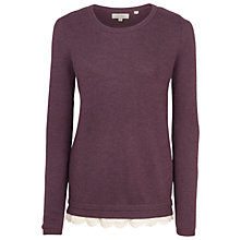 Buy Fat Face Sophie Knitted Lace Trim Jumper, Grape Online at johnlewis.com