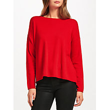 Buy Cocoa Cashmere Button Back Cashmere Jumper, Red Online at johnlewis.com