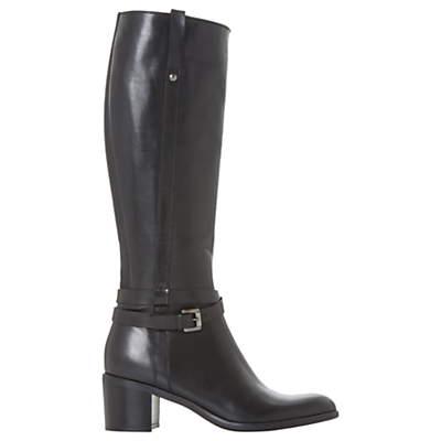 Dune Black Timmie Block Heeled Knee High Boots