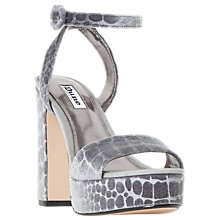 Buy Dune Morisey Platform Block Heeled Sandals, Grey Online at johnlewis.com