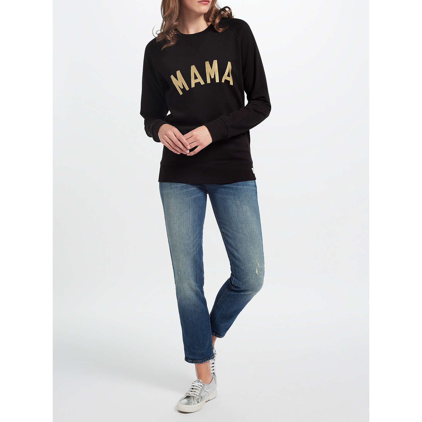 BuySelfish Mother Mama Crew Neck Sweatshirt, Black/Gold, S Online at johnlewis.com