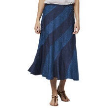 Buy East Cross Dye Patch Panel Linen Skirt, Indigo Online at johnlewis.com