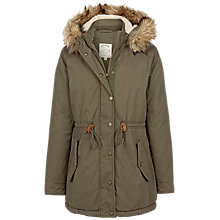 Buy Fat Face Penny Faux Fur Trim Parka, Khaki Online at johnlewis.com