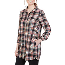 Buy Fat Face Ottilie Check Longline Shirt, Phantom Online at johnlewis.com