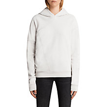 Buy Allsaints Asymmetric Cotton Hoodie, Ivory White Online at johnlewis.com
