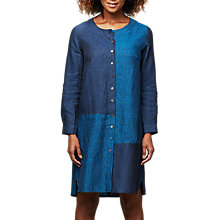 Buy East Linen Dye Colour Block Dress, Indigo Online at johnlewis.com