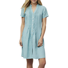 Buy East Linen Pintuck Dress, Duck Egg Online at johnlewis.com