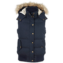 Buy Fat Face Heritage Faux Fur Trim Hooded Gilet, Indigo Online at johnlewis.com