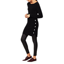 Buy Mint Velvet Button Side Ottoman Tunic Knitted Dress, Black Online at johnlewis.com