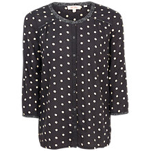 Buy Fat Face Peggy Painted Polka Dot Blouse, Phantom Online at johnlewis.com