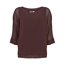 Buy Mint Velvet Bordeaux Layered Batwing Top, Dark Red Online at johnlewis.com