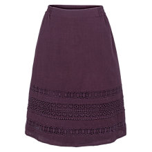 Buy Fat Face Monica Lace Skirt, Aubergine Online at johnlewis.com