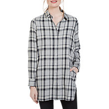Buy Fat Face Ottilie Check Longline Shirt, Grey Marl Online at johnlewis.com