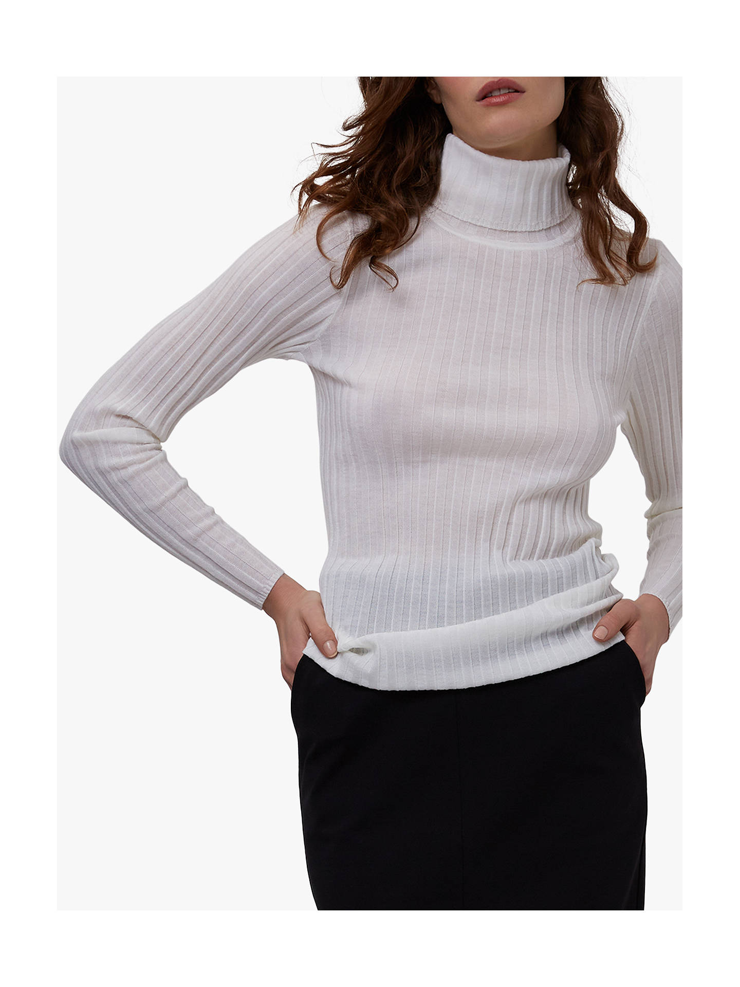 BuyWinser London Merino Wool Rib Jumper, Ivory, XS Online at johnlewis.com