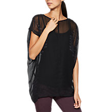 Buy Mint Velvet Ginni Print Cocoon T-Shirt, Black Online at johnlewis.com