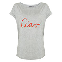 Buy Mint Velvet Ciao T-Shirt, Light Grey Online at johnlewis.com