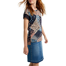 Buy White Stuff Patchwork Linen Jersey T-Shirt, Navy Online at johnlewis.com