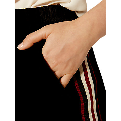 Buy Karen Millen Velvet Sporty Trousers, Black Online at johnlewis.com