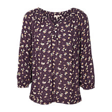 Buy Fat Face Sadie Teatime Floral Blouse, Aubergine/White Online at johnlewis.com
