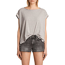 Buy AllSaints Pina Stripe T-Shirt, Pink/Grey Online at johnlewis.com