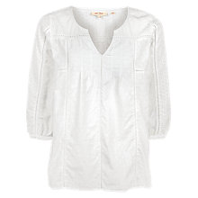 Buy Fat Face Phoebe Broderie Popover Blouse, White Online at johnlewis.com