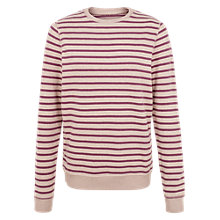 Buy Fat Face Devon Stripe Jumper, Grape Online at johnlewis.com