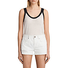 Buy AllSaints Covey Cotton Linen Blend Vest, White/Blue Online at johnlewis.com