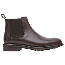 Buy Reiss Chalmer Leather Chelsea Boots, Dark Brown Online at johnlewis.com