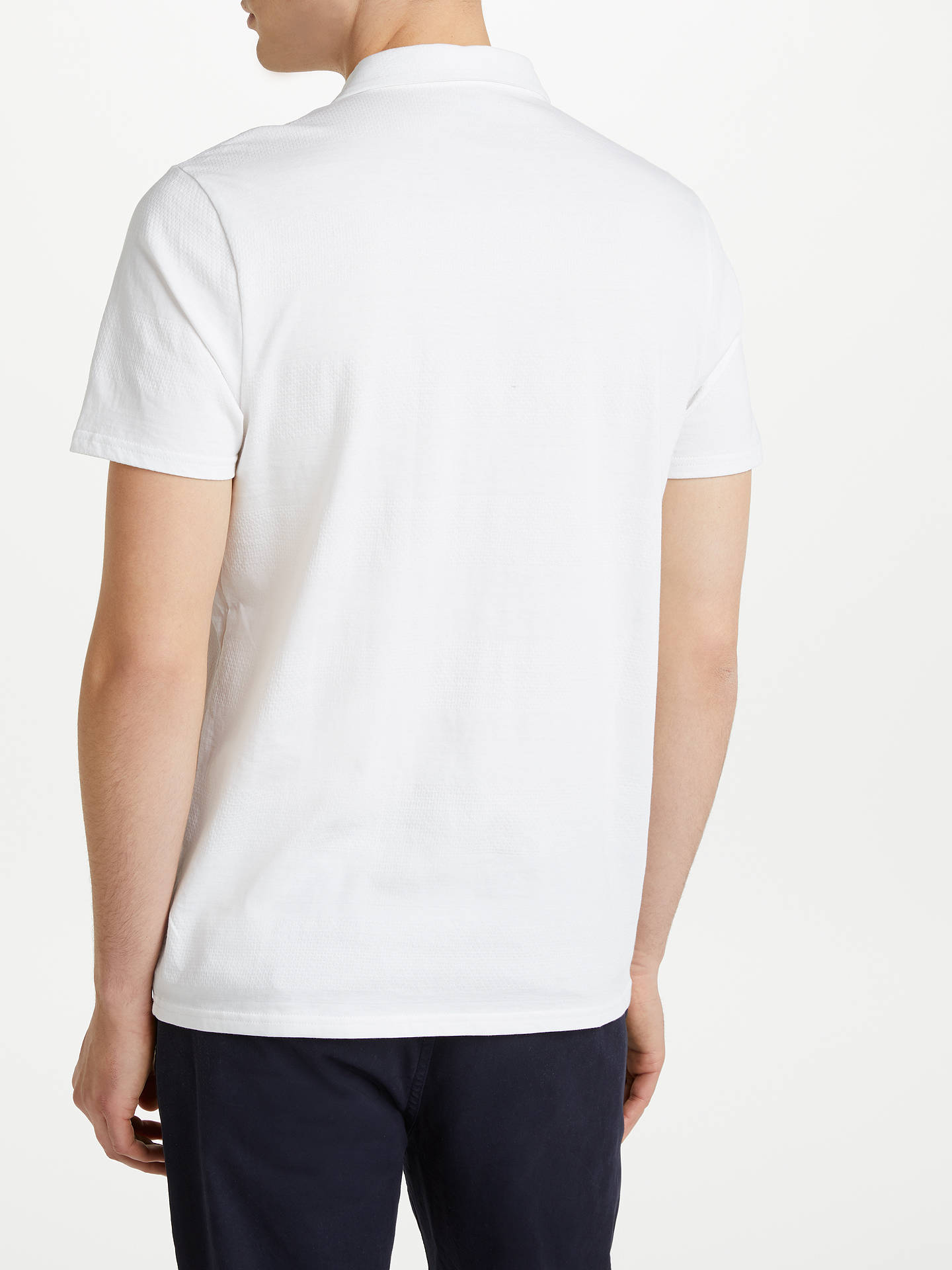 BuyKin Texture Stripe Polo Shirt, White, S Online at johnlewis.com