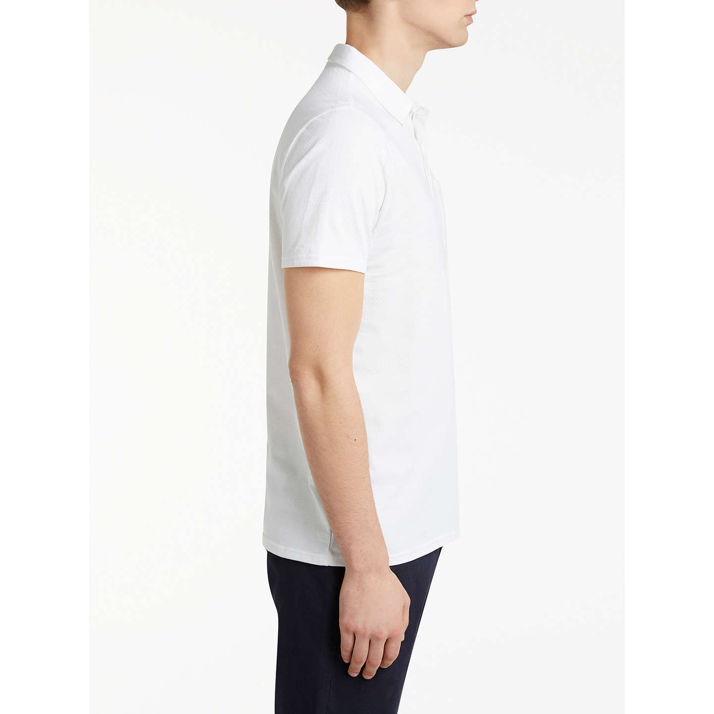 BuyKin by John Lewis Texture Stripe Polo Shirt, White, S Online at johnlewis.com