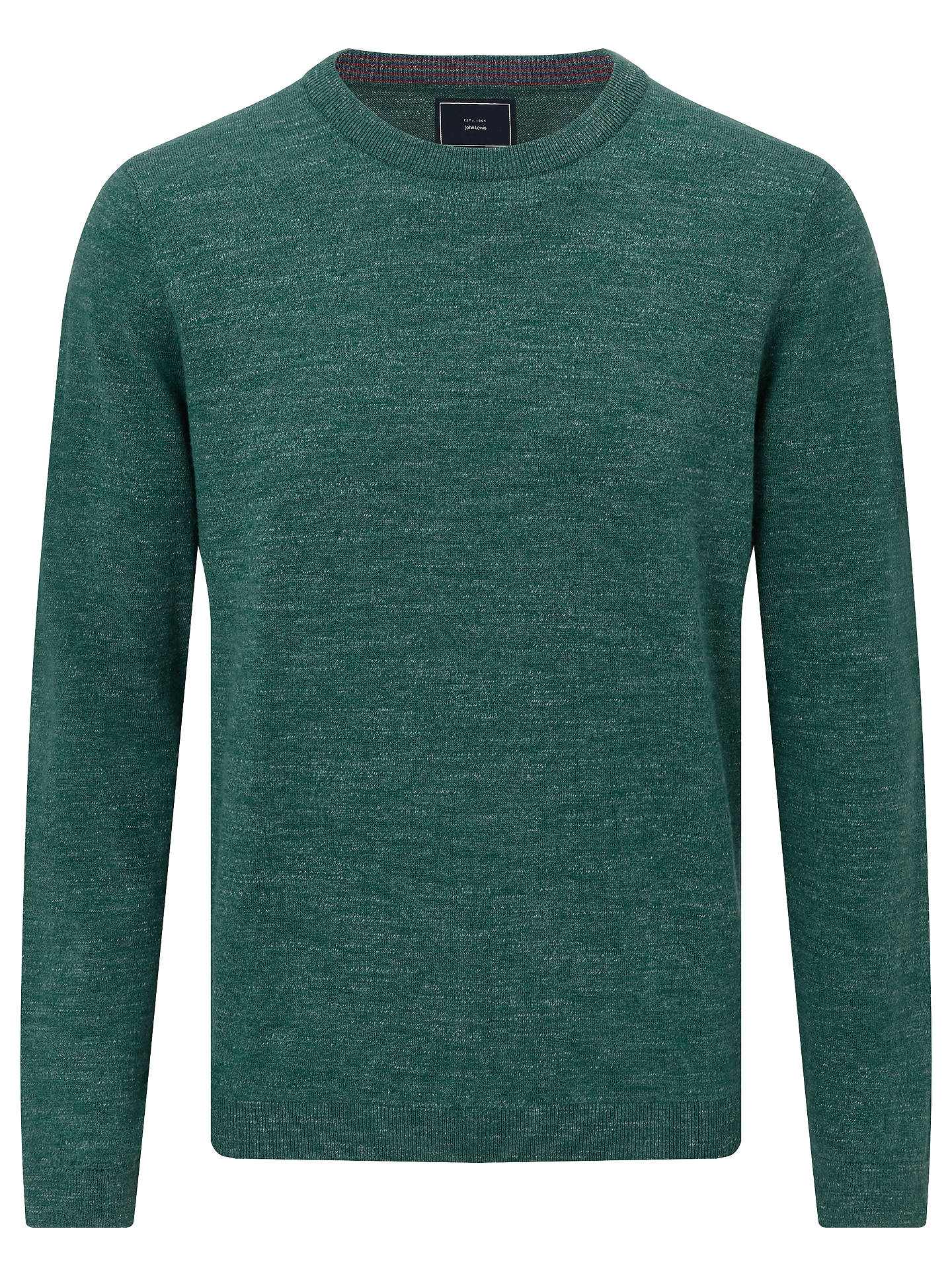 BuyJohn Lewis & Partners Budding Cotton Crew Neck Jumper, Teal, S Online at johnlewis.com