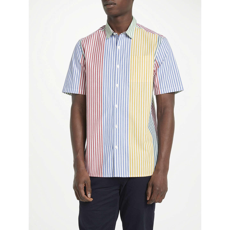 Kin By John Lewis Block Multi Stripe Short Sleeve Shirt, Multi by Kin By John Lewis