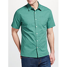 Buy John Lewis Hanley End on End Gingham Short Sleeve Oxford Shirt, Green Online at johnlewis.com