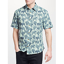 Buy John Lewis Elephant Print Short Sleeve Shirt, Green Online at johnlewis.com