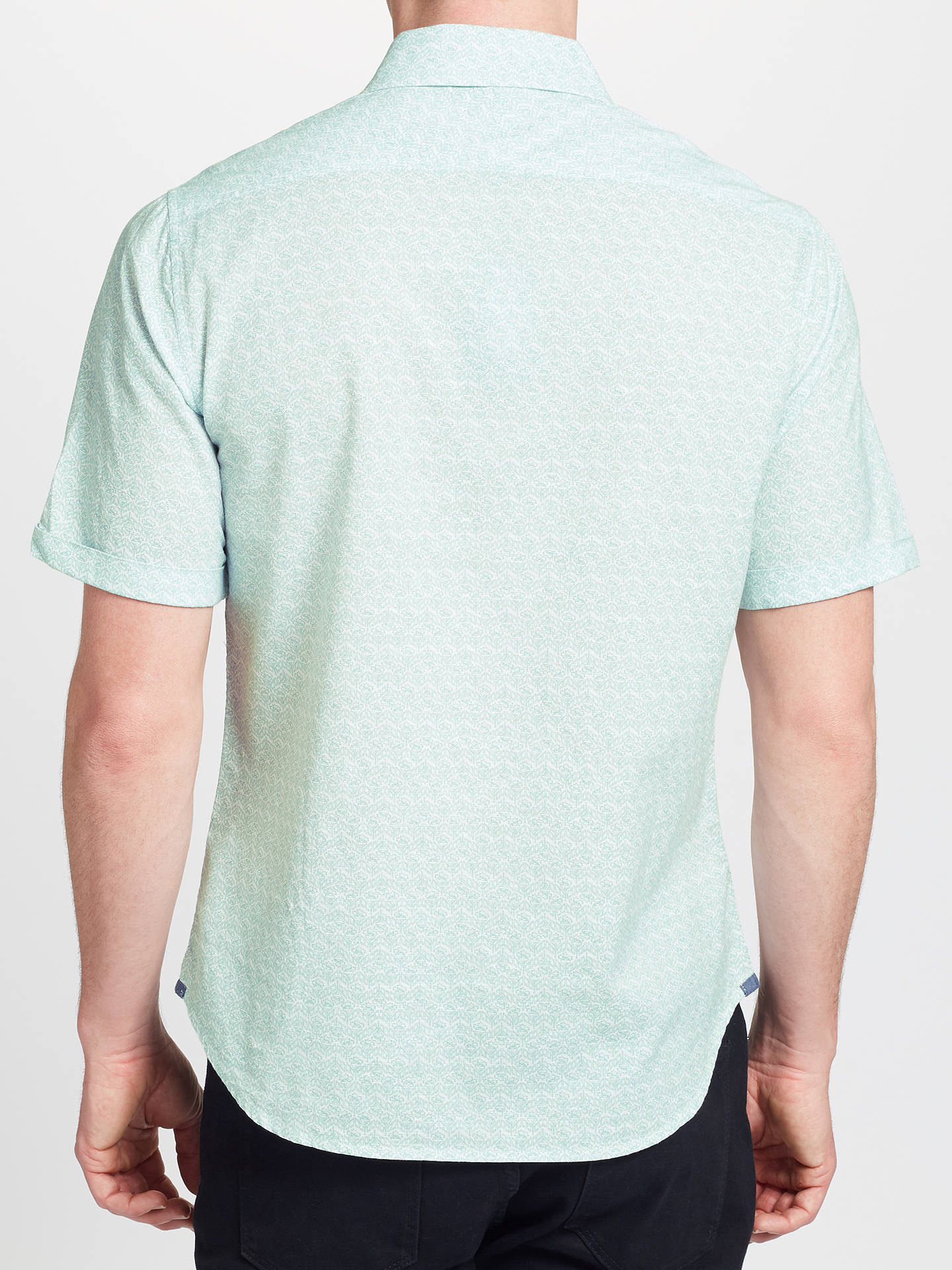 Buy John Lewis & Partners Dhalia Print Short Sleeve Shirt, Light Green, S Online at johnlewis.com