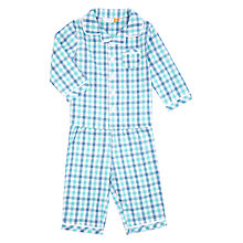 Buy John Lewis Baby Gingham Woven Pyjamas, Blue Online at johnlewis.com