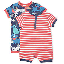 Buy John Lewis Baby Dog and Stripe Romper, Pack of 2, Blue/Red Online at johnlewis.com