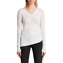 Buy AllSaints Vana Wool V-Neck Jumper, Chalk White Online at johnlewis.com