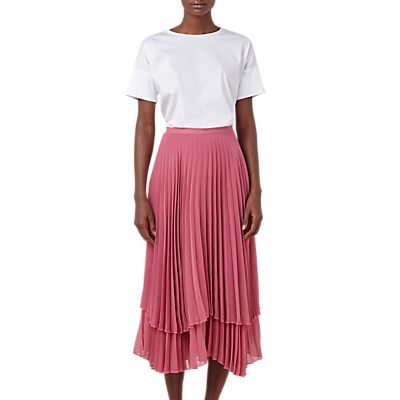Finery Asymmetric Hem Double Layered Pleated Midi Skirt, Rose
