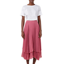 Buy Finery Asymmetric Hem Double Layered Pleated Midi Skirt, Rose Online at johnlewis.com