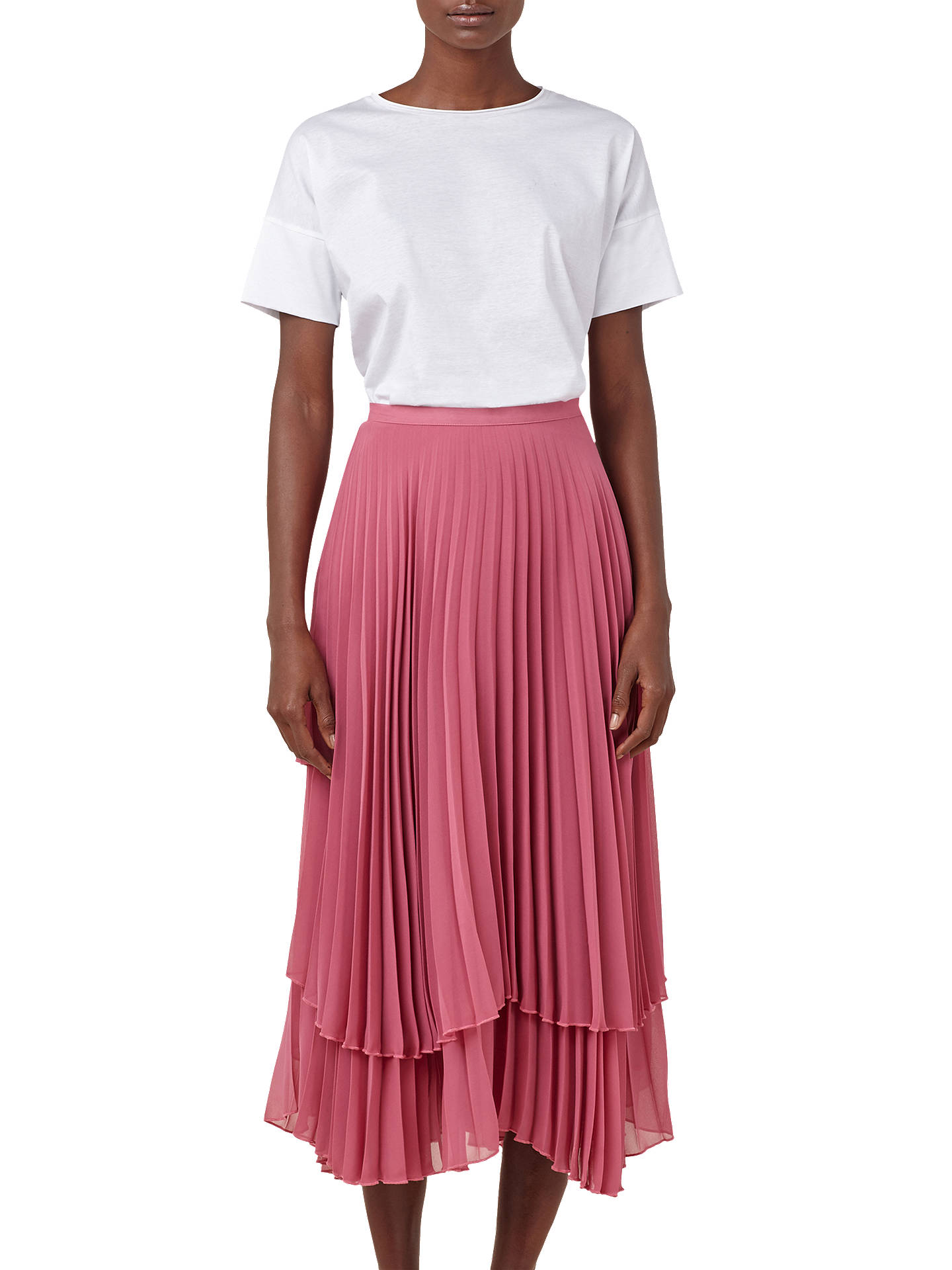 a07b2b7c3c Buy Finery Asymmetric Hem Double Layered Pleated Midi Skirt, Rose, 8 Online  at johnlewis ...