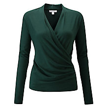 Buy Pure Collection Soft Jersey Wrap Top, Forest Green Online at johnlewis.com