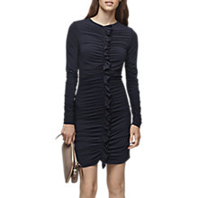 Buy Reiss Harriet Long Sleeve Ruffle Bodycon Dress, Night Navy Online at johnlewis.com