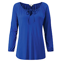 Buy Pure Collection Soft Jersey Tie Neck Top, Sapphire Blue Online at johnlewis.com