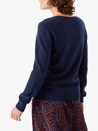 Buy Brora Cashmere Classic Round Neck Jumper, French Navy, 8 Online at johnlewis.com