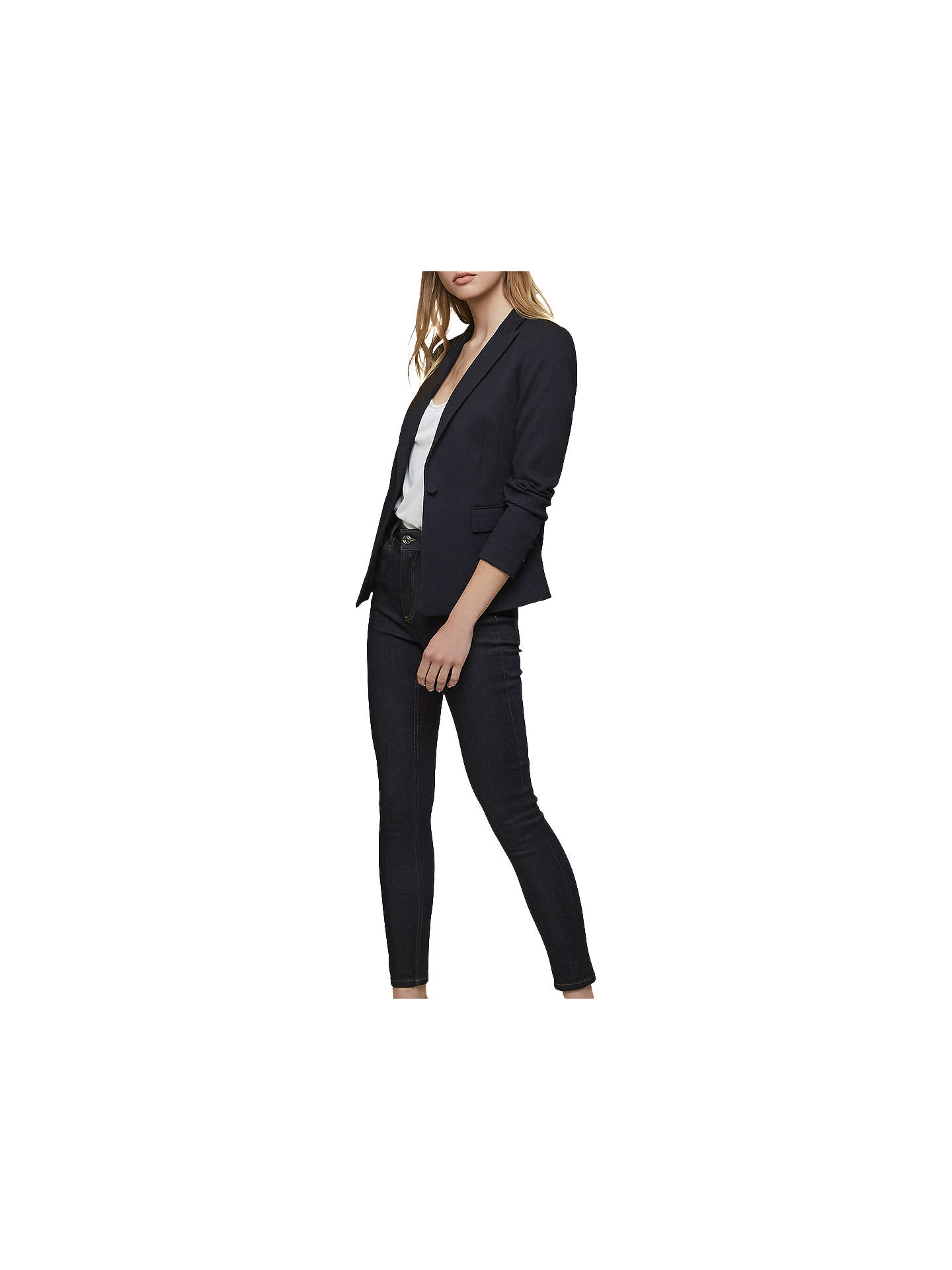 BuyReiss Tilda Textured Single Breasted Blazer, Night Navy, 6 Online at johnlewis.com