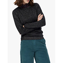 Buy Brora Merino Wool Sparkle Jumper, Black Online at johnlewis.com