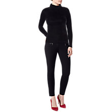 Buy Pure Collection Velour Roll Neck Top, Black Online at johnlewis.com